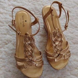 Kate Spade Becca Gold Cork Wedge Sandal